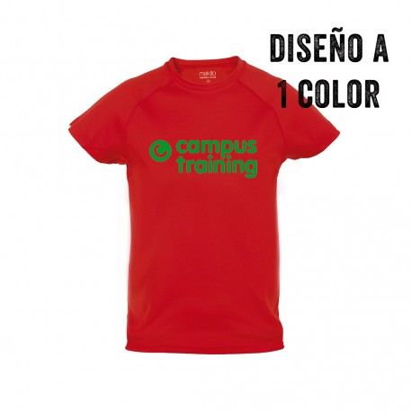 Camiseta técnica infantil personalizada a 1 color