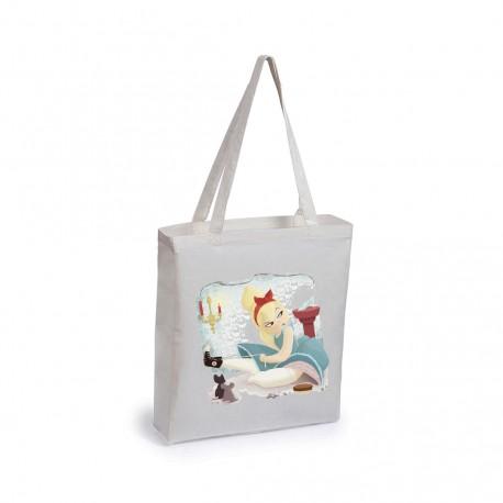 Bolsa con fuelle personalizada algodón natural