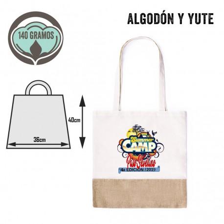 Bolsa tote bag ecológica de algodón y yute