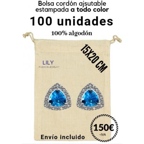100 bolsas cordón 10x14cm a todo color