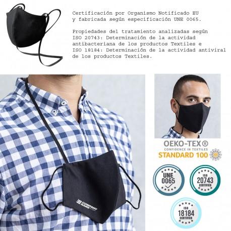 Mascarilla personalizada negra con cinta al cuello