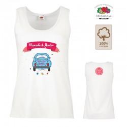 Camiseta blanca algodón tirantes para personalización