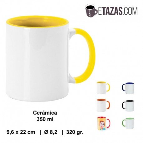Taza personalizable cerámica 350ml asa/interior color
