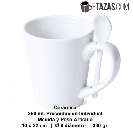 Taza con cuchara 350ml personalizable