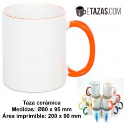 Taza con borde y asa de color 350ml