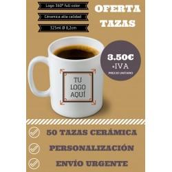 Oferta 50 tazas personalizadas 3,50€+IVA envío incluido