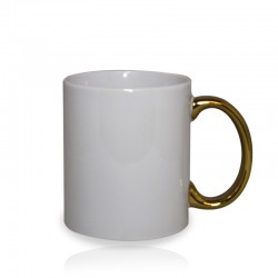 Taza blanca con asa cromada oro