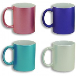 Taza de color con efecto purpurina personalizable