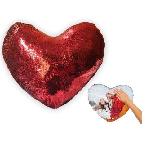 Cojín lentejuelas corazón personalizable 43x37cm