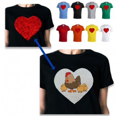 Camiseta con corazón lentejuelas personalizable