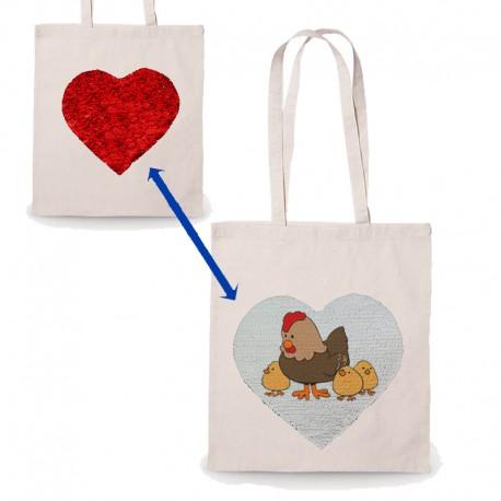 Bolsa algodón con corazón lentejuelas personalizable