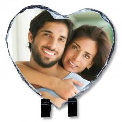 Portafotos corazón pizarra personalizado con foto