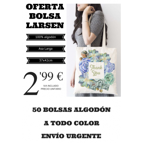 50 bolsas estampadas a todo color