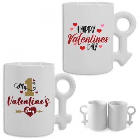 Set 2 tazas cerámica personalizadas San Valentín