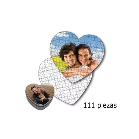 Puzzle forma corazón personalizado con foto